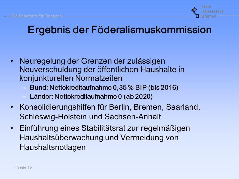 Freie Hansestadt Bremen Die Senatorin für Finanzen - Seite 15 - Neuregelung der Grenzen der zulässigen Neuverschuldung der öffentlichen Haushalte in k