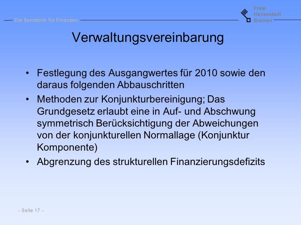 Freie Hansestadt Bremen Die Senatorin für Finanzen - Seite 17 - Verwaltungsvereinbarung Festlegung des Ausgangwertes für 2010 sowie den daraus folgend