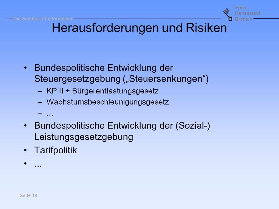 Freie Hansestadt Bremen Die Senatorin für Finanzen - Seite 18 - Herausforderungen und Risiken Bundespolitische Entwicklung der Steuergesetzgebung (Ste