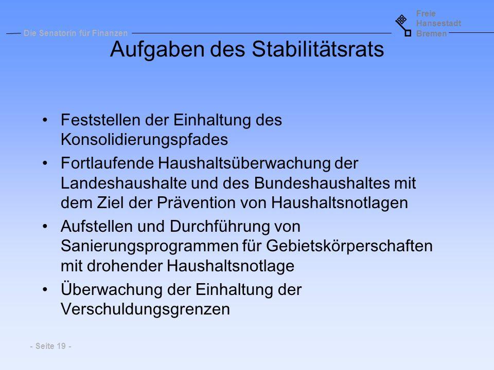 Freie Hansestadt Bremen Die Senatorin für Finanzen - Seite 19 - Aufgaben des Stabilitätsrats Feststellen der Einhaltung des Konsolidierungspfades Fort