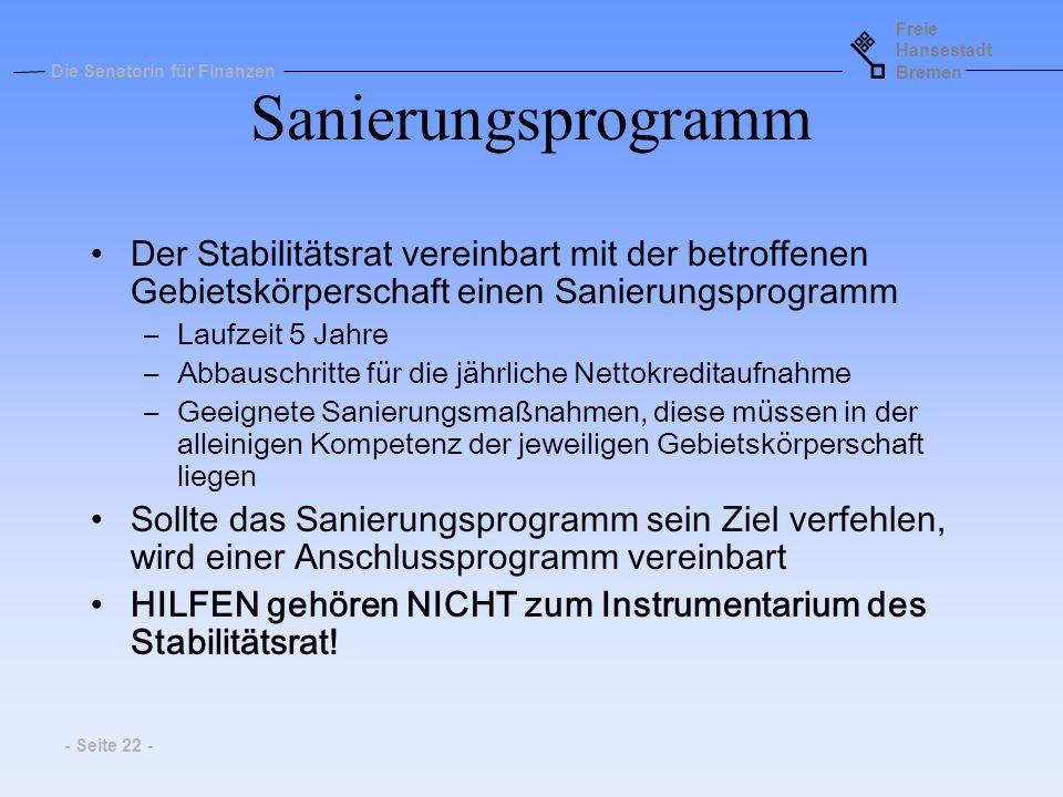Freie Hansestadt Bremen Die Senatorin für Finanzen - Seite 22 - Sanierungsprogramm Der Stabilitätsrat vereinbart mit der betroffenen Gebietskörperscha