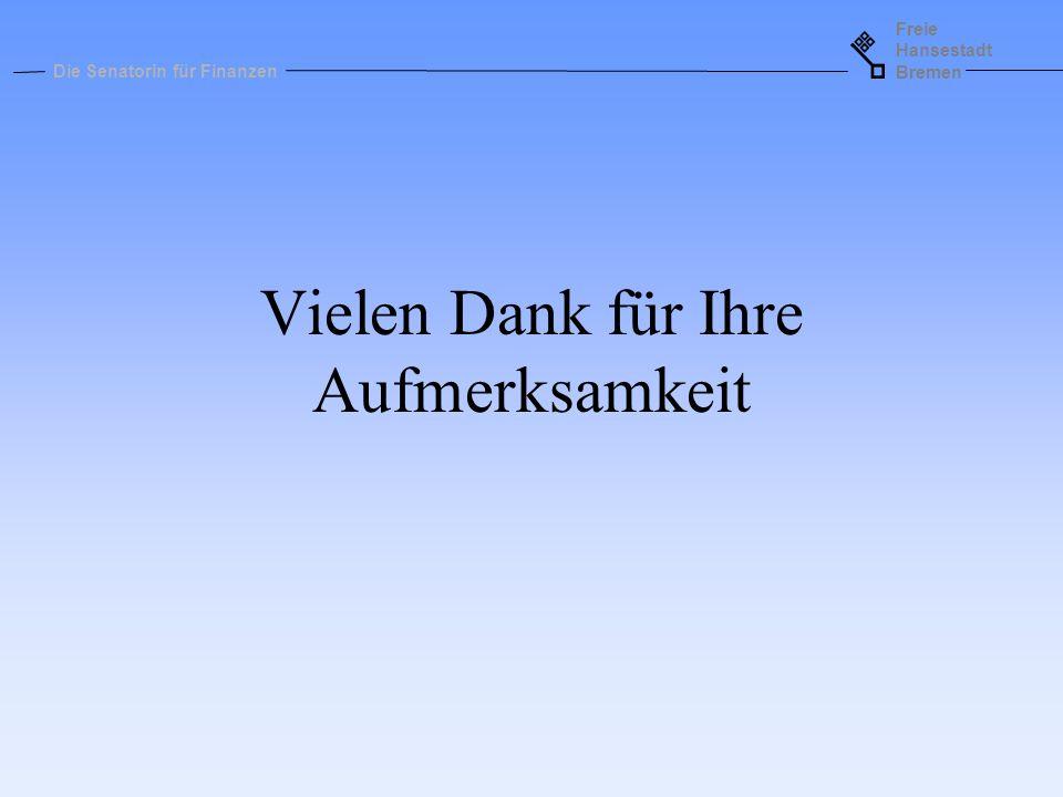 Freie Hansestadt Bremen Die Senatorin für Finanzen Vielen Dank für Ihre Aufmerksamkeit