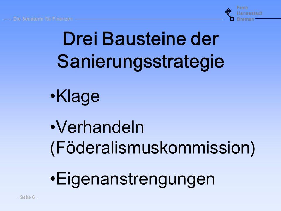 Freie Hansestadt Bremen Die Senatorin für Finanzen - Seite 6 - Drei Bausteine der Sanierungsstrategie Klage Verhandeln (Föderalismuskommission) Eigena
