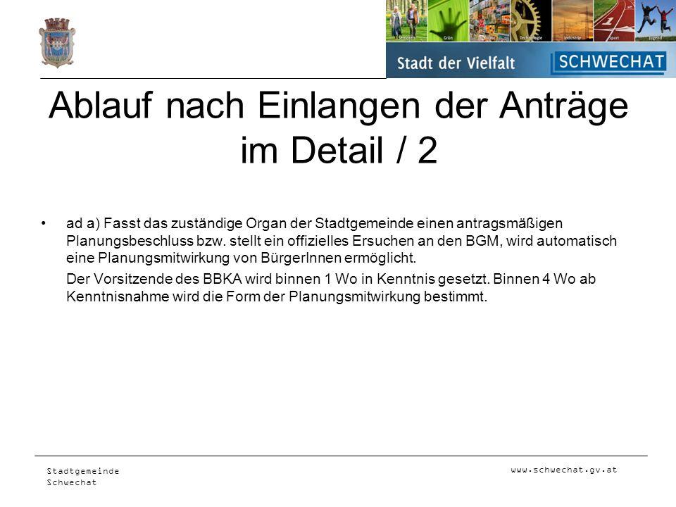 www.schwechat.gv.at Stadtgemeinde Schwechat Ablauf nach Einlangen der Anträge im Detail / 2 ad a) Fasst das zuständige Organ der Stadtgemeinde einen a