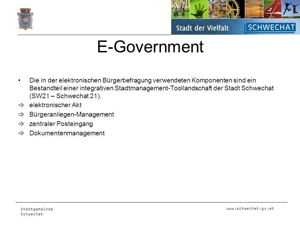 www.schwechat.gv.at Stadtgemeinde Schwechat E-Government Die in der elektronischen Bürgerbefragung verwendeten Komponenten sind ein Bestandteil einer