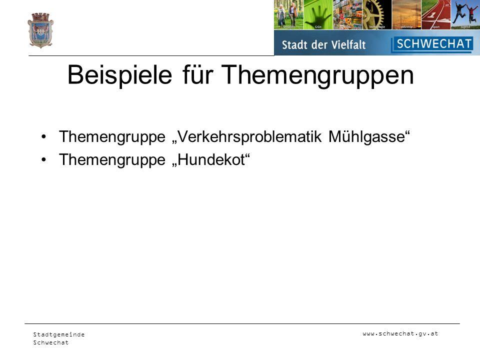 www.schwechat.gv.at Stadtgemeinde Schwechat Beispiele für Themengruppen Themengruppe Verkehrsproblematik Mühlgasse Themengruppe Hundekot