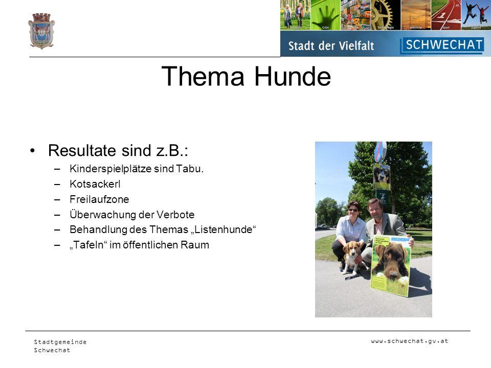 www.schwechat.gv.at Stadtgemeinde Schwechat Thema Hunde Resultate sind z.B.: –Kinderspielplätze sind Tabu. –Kotsackerl –Freilaufzone –Überwachung der