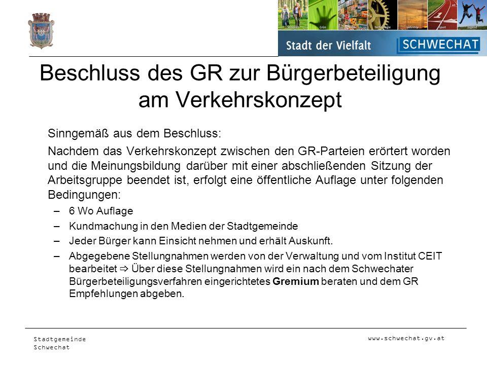 www.schwechat.gv.at Stadtgemeinde Schwechat Beschluss des GR zur Bürgerbeteiligung am Verkehrskonzept Sinngemäß aus dem Beschluss: Nachdem das Verkehr