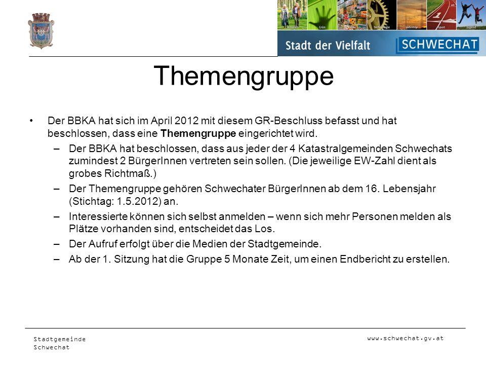 www.schwechat.gv.at Stadtgemeinde Schwechat Themengruppe Der BBKA hat sich im April 2012 mit diesem GR-Beschluss befasst und hat beschlossen, dass ein