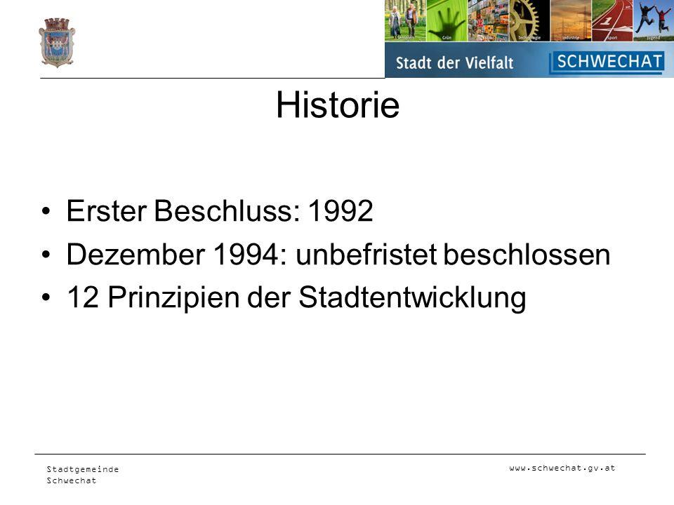 www.schwechat.gv.at Stadtgemeinde Schwechat Historie Erster Beschluss: 1992 Dezember 1994: unbefristet beschlossen 12 Prinzipien der Stadtentwicklung