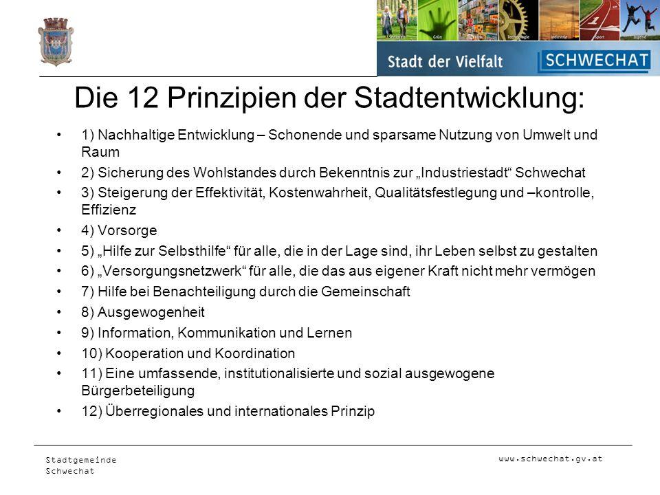 www.schwechat.gv.at Stadtgemeinde Schwechat Die 12 Prinzipien der Stadtentwicklung: 1) Nachhaltige Entwicklung – Schonende und sparsame Nutzung von Um