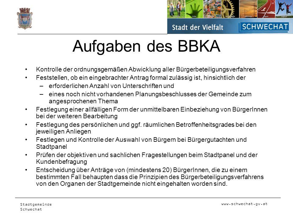 www.schwechat.gv.at Stadtgemeinde Schwechat Aufgaben des BBKA Kontrolle der ordnungsgemäßen Abwicklung aller Bürgerbeteiligungsverfahren Feststellen,