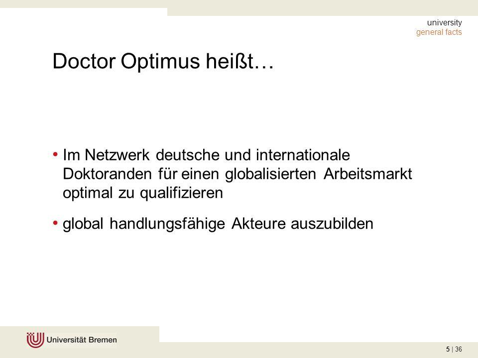 5 | 36 university general facts Doctor Optimus heißt… Im Netzwerk deutsche und internationale Doktoranden für einen globalisierten Arbeitsmarkt optima
