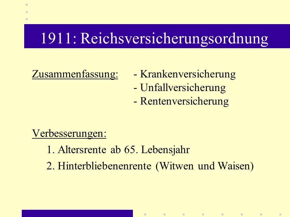 1911: Reichsversicherungsordnung Zusammenfassung: - Krankenversicherung - Unfallversicherung - Rentenversicherung Verbesserungen: 1. Altersrente ab 65