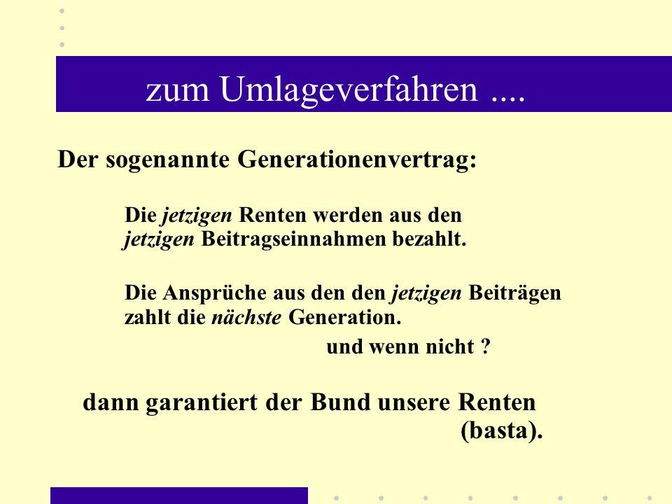 zum Umlageverfahren.... Der sogenannte Generationenvertrag: Die jetzigen Renten werden aus den jetzigen Beitragseinnahmen bezahlt. Die Ansprüche aus d