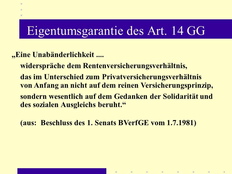 Eigentumsgarantie des Art. 14 GG Eine Unabänderlichkeit.... widerspräche dem Rentenversicherungsverhältnis, das im Unterschied zum Privatversicherungs