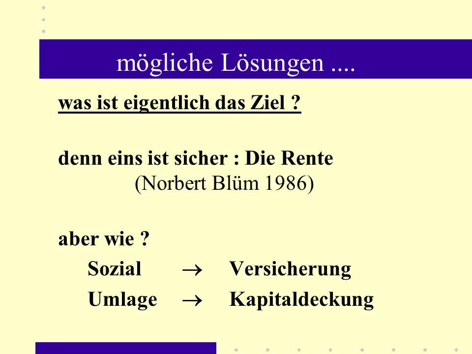 mögliche Lösungen.... was ist eigentlich das Ziel ? denn eins ist sicher : Die Rente (Norbert Blüm 1986) aber wie ? Sozial Versicherung Umlage Kapital