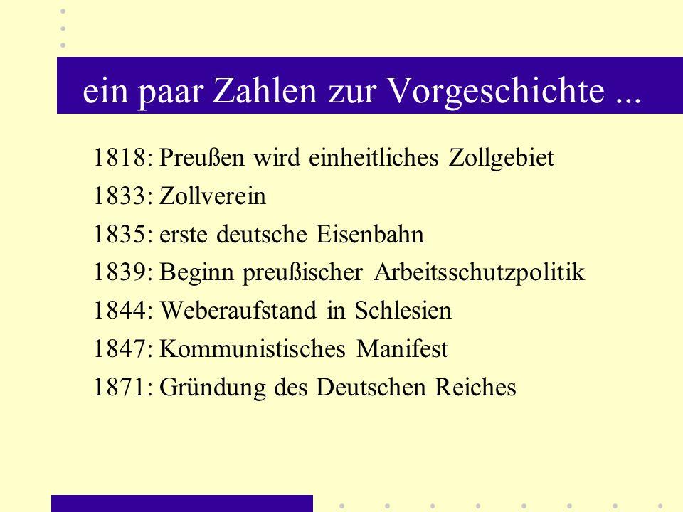 ein paar Zahlen zur Vorgeschichte... 1818: Preußen wird einheitliches Zollgebiet 1833: Zollverein 1835: erste deutsche Eisenbahn 1839: Beginn preußisc