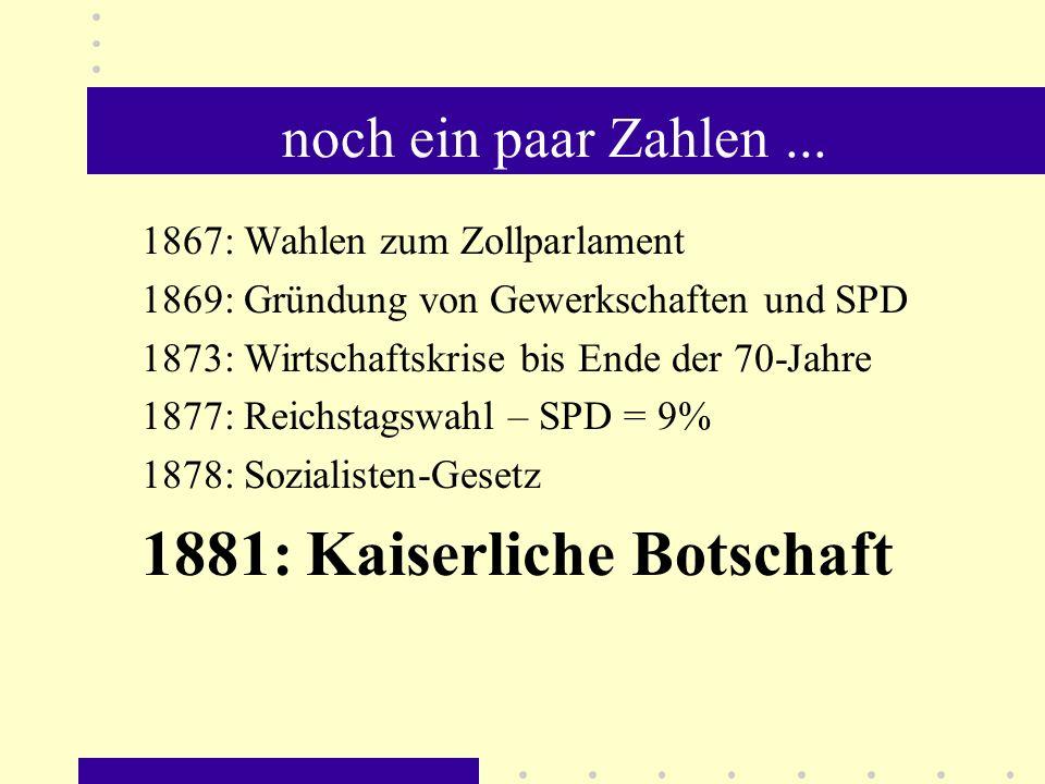 noch ein paar Zahlen... 1867: Wahlen zum Zollparlament 1869: Gründung von Gewerkschaften und SPD 1873: Wirtschaftskrise bis Ende der 70-Jahre 1877: Re
