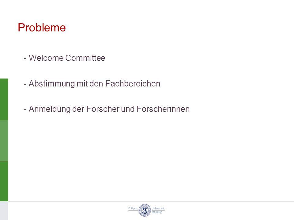 Probleme -Welcome Committee -Abstimmung mit den Fachbereichen -Anmeldung der Forscher und Forscherinnen