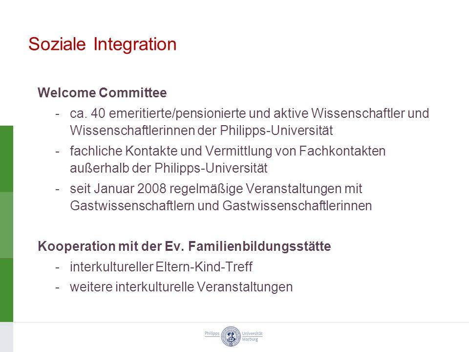 Soziale Integration Welcome Committee -ca. 40 emeritierte/pensionierte und aktive Wissenschaftler und Wissenschaftlerinnen der Philipps-Universität -f