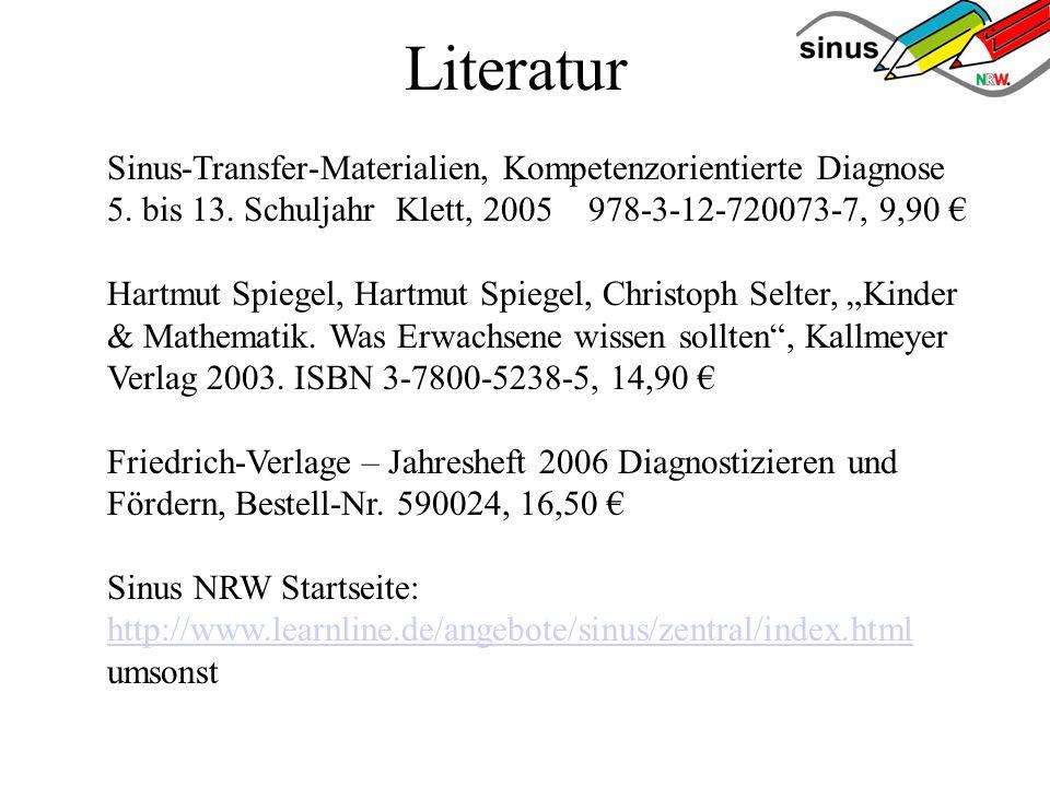 Literatur Sinus-Transfer-Materialien, Kompetenzorientierte Diagnose 5. bis 13. Schuljahr Klett, 2005 978-3-12-720073-7, 9,90 Hartmut Spiegel, Hartmut