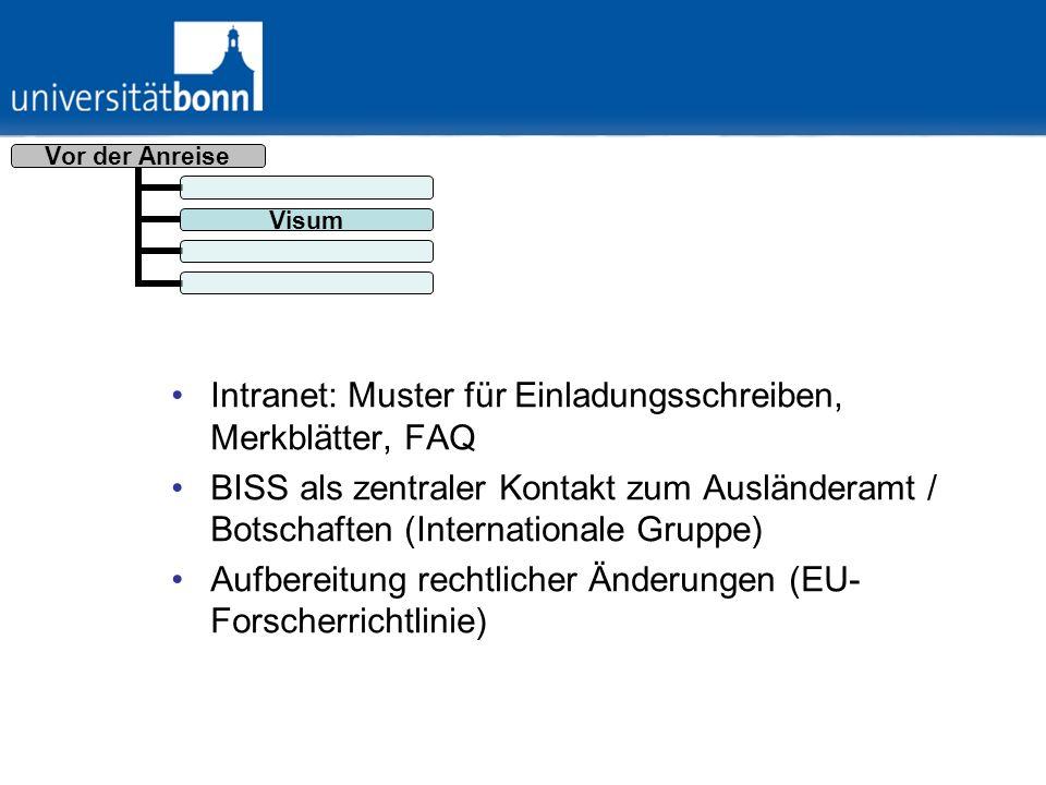 Intranet: Muster für Einladungsschreiben, Merkblätter, FAQ BISS als zentraler Kontakt zum Ausländeramt / Botschaften (Internationale Gruppe) Aufbereit