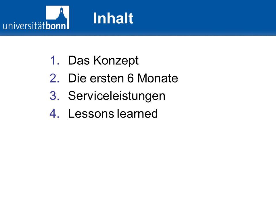 Inhalt 1.Das Konzept 2.Die ersten 6 Monate 3.Serviceleistungen 4.Lessons learned