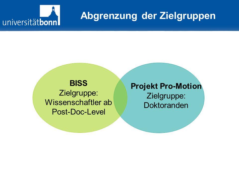 Abgrenzung der Zielgruppen BISS Zielgruppe: Wissenschaftler ab Post-Doc-Level Projekt Pro- Motion Zielgruppe: Doktoranden