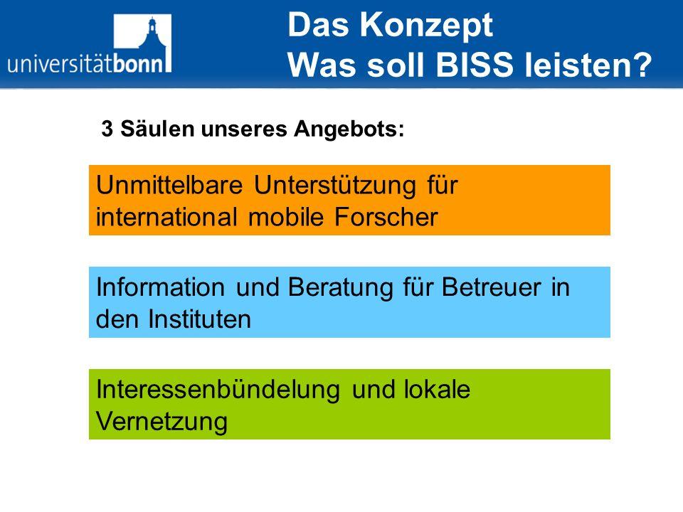 Das Konzept Was soll BISS leisten? Unmittelbare Unterstützung für international mobile Forscher Information und Beratung für Betreuer in den Institute