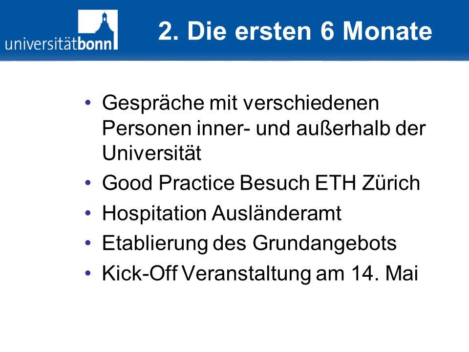2. Die ersten 6 Monate Gespräche mit verschiedenen Personen inner- und außerhalb der Universität Good Practice Besuch ETH Zürich Hospitation Ausländer