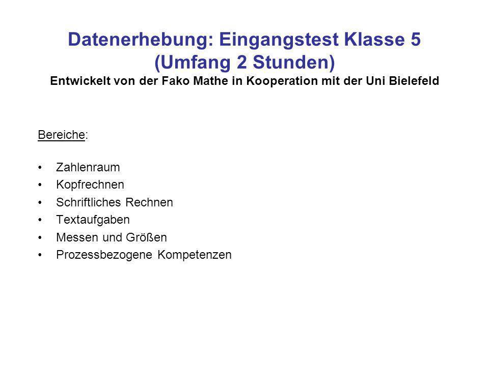Datenerhebung: Eingangstest Klasse 5 (Umfang 2 Stunden) Entwickelt von der Fako Mathe in Kooperation mit der Uni Bielefeld Bereiche: Zahlenraum Kopfre