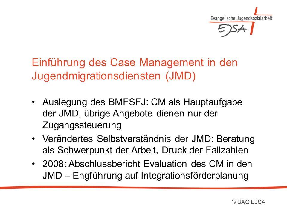Einführung des Case Management in den Jugendmigrationsdiensten (JMD) Auslegung des BMFSFJ: CM als Hauptaufgabe der JMD, übrige Angebote dienen nur der Zugangssteuerung Verändertes Selbstverständnis der JMD: Beratung als Schwerpunkt der Arbeit, Druck der Fallzahlen 2008: Abschlussbericht Evaluation des CM in den JMD – Engführung auf Integrationsförderplanung © BAG EJSA