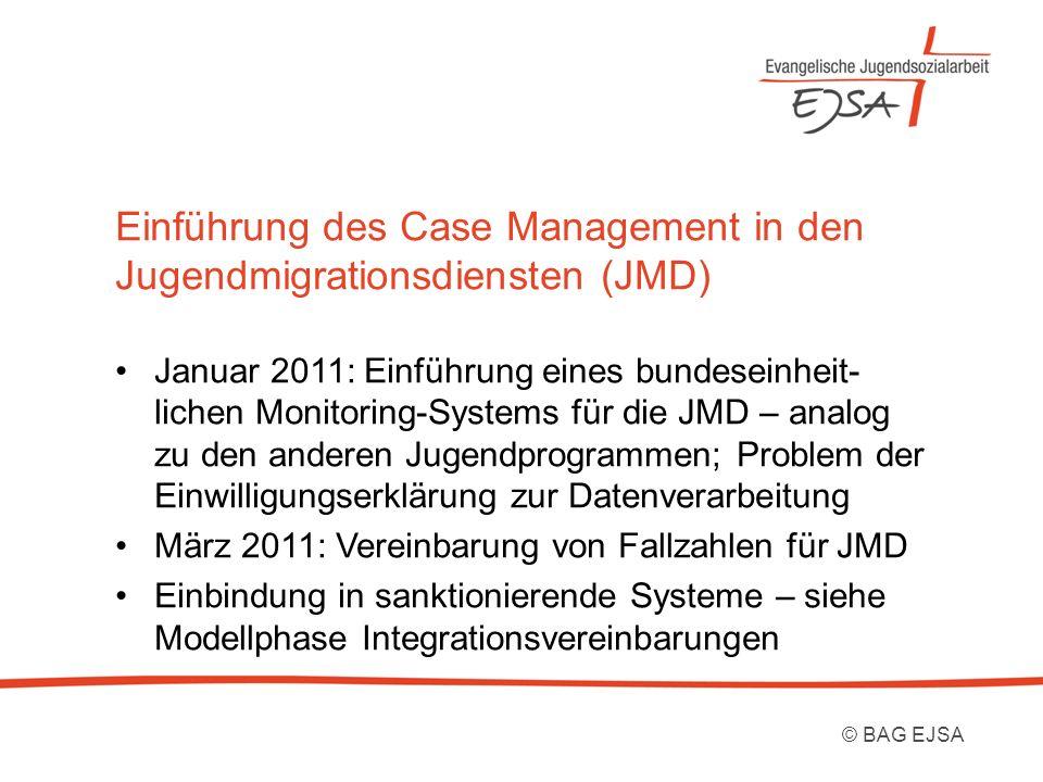 Einführung des Case Management in den Jugendmigrationsdiensten (JMD) Januar 2011: Einführung eines bundeseinheit- lichen Monitoring-Systems für die JM