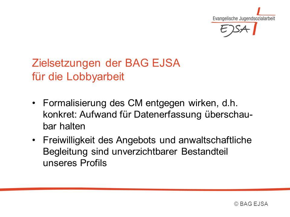 Zielsetzungen der BAG EJSA für die Lobbyarbeit Formalisierung des CM entgegen wirken, d.h. konkret: Aufwand für Datenerfassung überschau- bar halten F