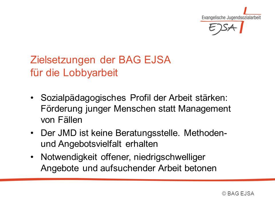 Zielsetzungen der BAG EJSA für die Lobbyarbeit Sozialpädagogisches Profil der Arbeit stärken: Förderung junger Menschen statt Management von Fällen Der JMD ist keine Beratungsstelle.