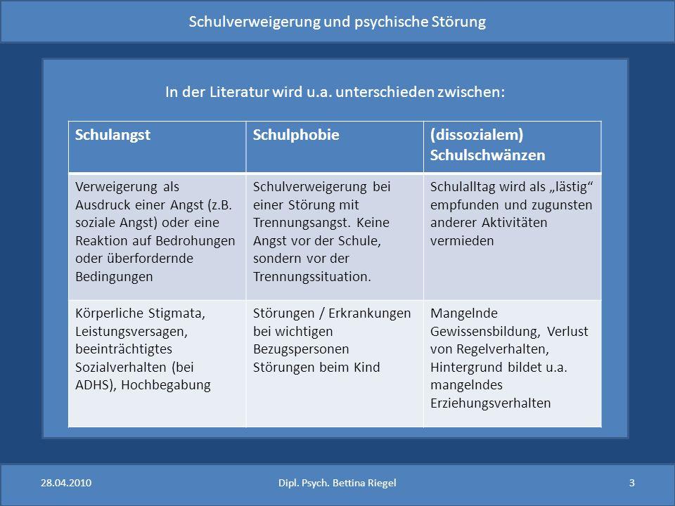 Schulverweigerung und psychische Störung In der Literatur wird u.a. unterschieden zwischen: SchulangstSchulphobie(dissozialem) Schulschwänzen Verweige