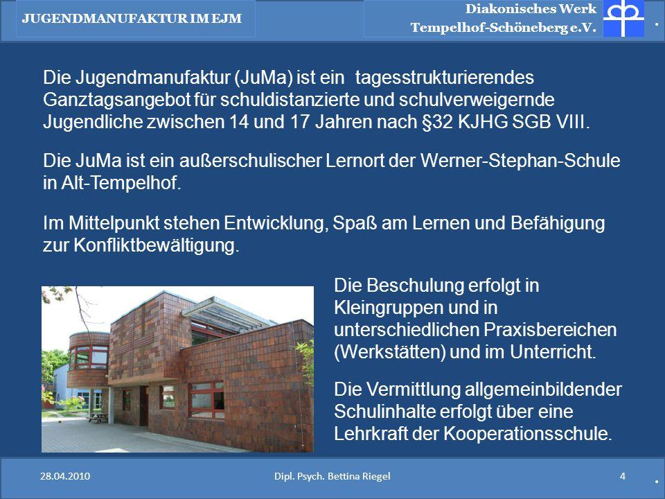 .. Diakonisches Werk Tempelhof-Schöneberg e.V. Die Jugendmanufaktur (JuMa) ist ein tagesstrukturierendes Ganztagsangebot für schuldistanzierte und sch