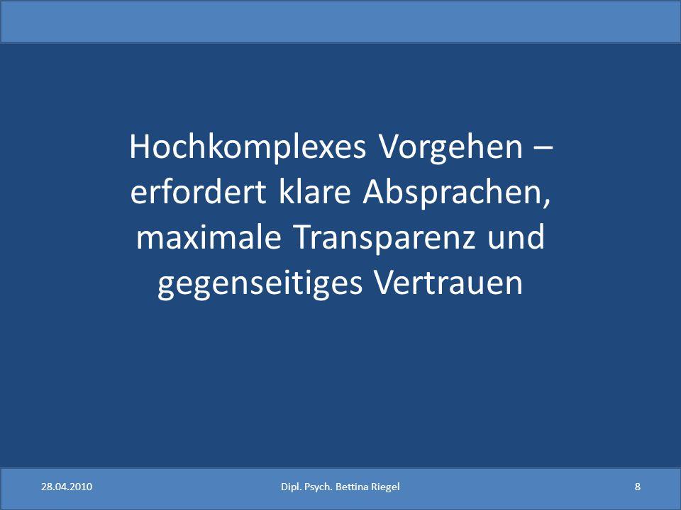 Hochkomplexes Vorgehen – erfordert klare Absprachen, maximale Transparenz und gegenseitiges Vertrauen 28.04.20108Dipl. Psych. Bettina Riegel