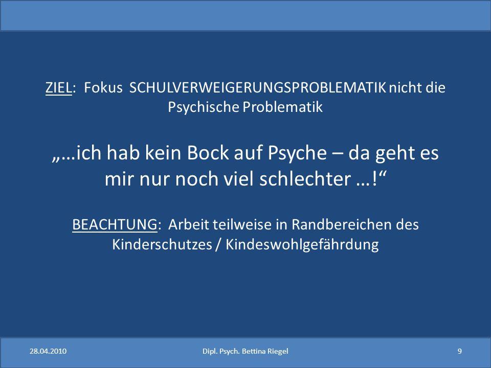 ZIEL: Fokus SCHULVERWEIGERUNGSPROBLEMATIK nicht die Psychische Problematik …ich hab kein Bock auf Psyche – da geht es mir nur noch viel schlechter …!