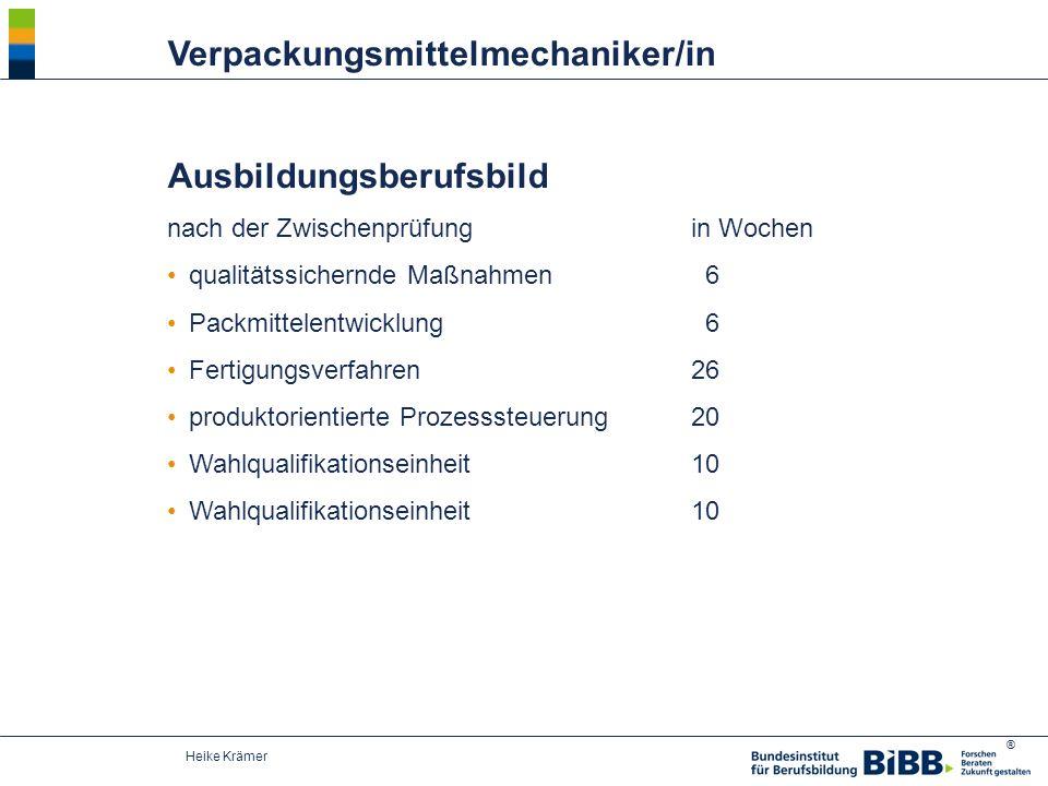 ® Heike Krämer Ausbildungsberufsbild nach der Zwischenprüfungin Wochen qualitätssichernde Maßnahmen 6 Packmittelentwicklung 6 Fertigungsverfahren26 pr
