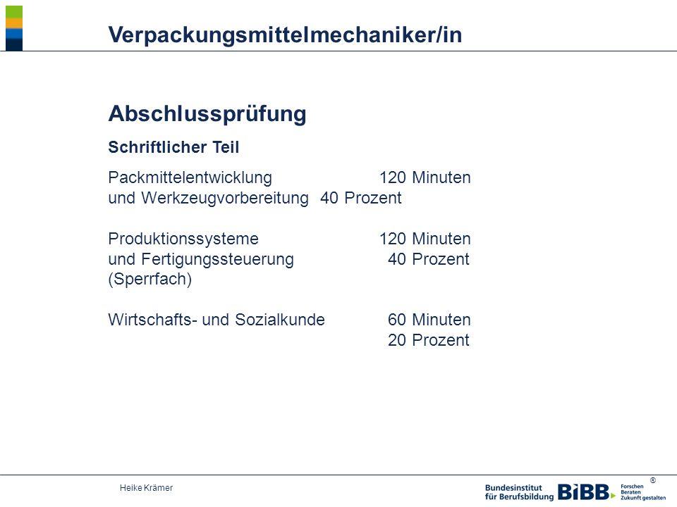 ® Heike Krämer Verpackungsmittelmechaniker/in Abschlussprüfung Schriftlicher Teil Packmittelentwicklung 120 Minuten und Werkzeugvorbereitung 40 Prozen