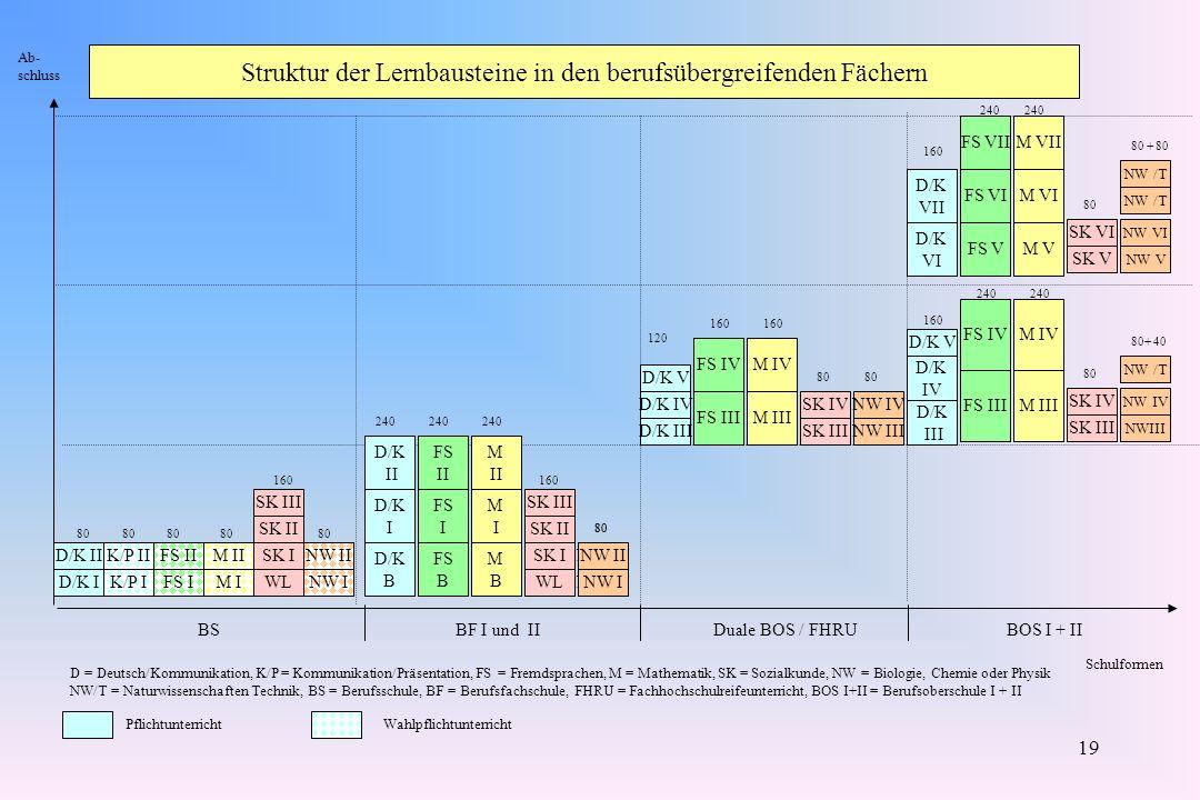 19 Struktur der Lernbausteine in den berufsübergreifenden Fächern D/K I D/K II K/P I K/P II FS IM IWLNW I FS IIM IISK INW II D/K B D/K I MBMB MIMI SK