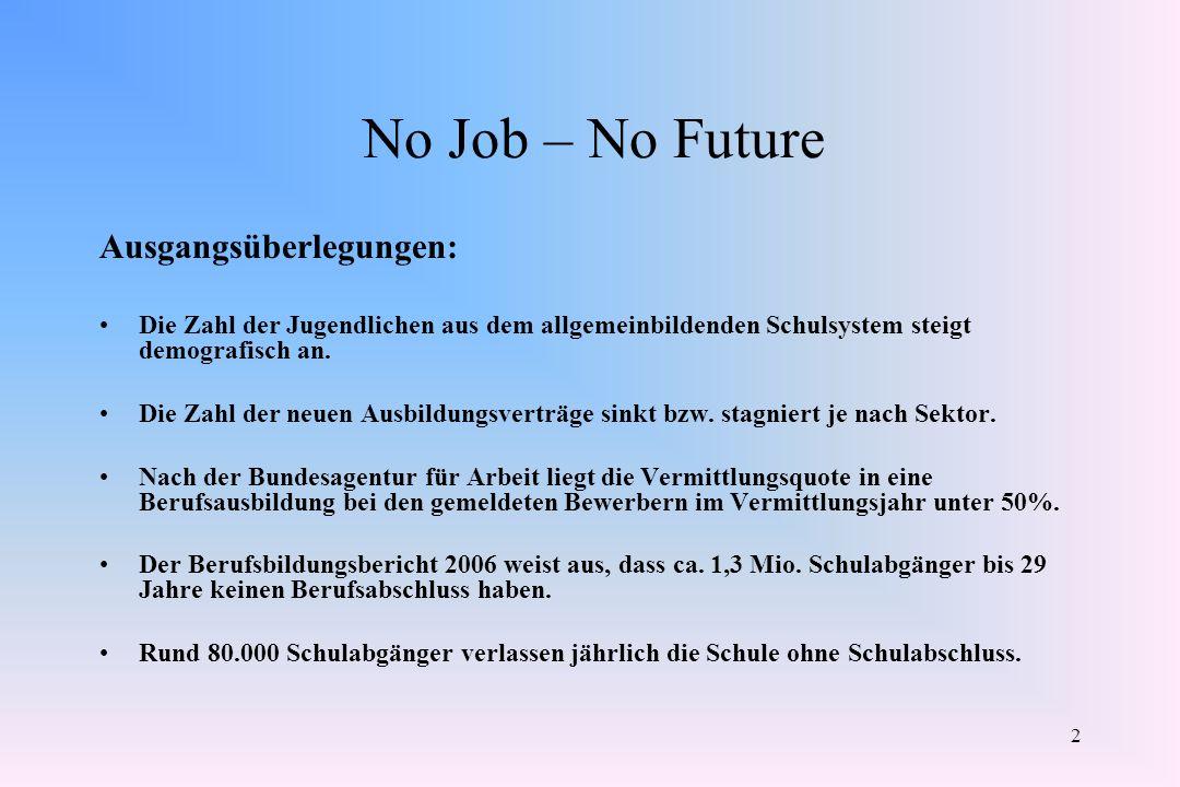 2 No Job – No Future Ausgangsüberlegungen: Die Zahl der Jugendlichen aus dem allgemeinbildenden Schulsystem steigt demografisch an. Die Zahl der neuen