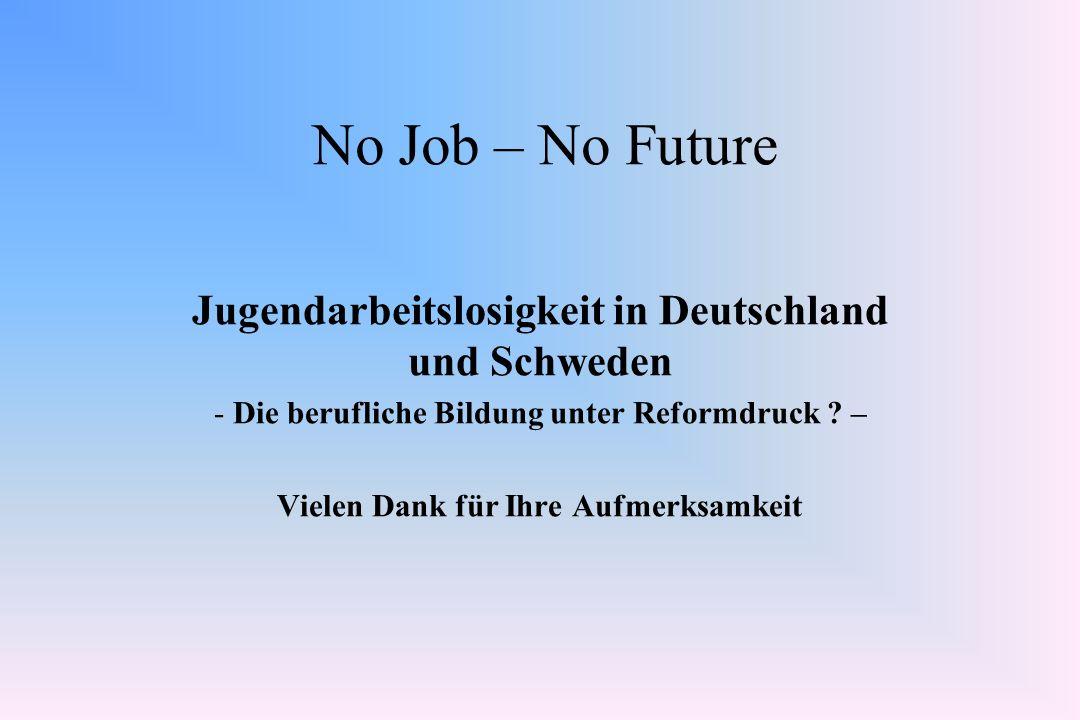 No Job – No Future Jugendarbeitslosigkeit in Deutschland und Schweden - Die berufliche Bildung unter Reformdruck ? – Vielen Dank für Ihre Aufmerksamke