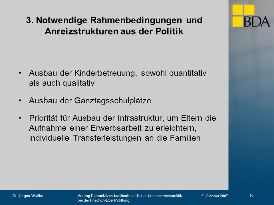 Vortrag Perspektiven familienfreundlicher Unternehmenspolitik bei der Friedrich-Ebert-Stiftung 9. Oktober 2007 Dr. Jürgen Wuttke 10 3. Notwendige Rahm