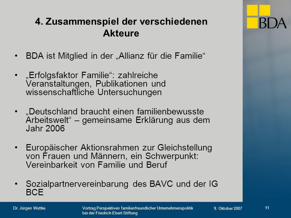 Vortrag Perspektiven familienfreundlicher Unternehmenspolitik bei der Friedrich-Ebert-Stiftung 9. Oktober 2007 Dr. Jürgen Wuttke 11 4. Zusammenspiel d