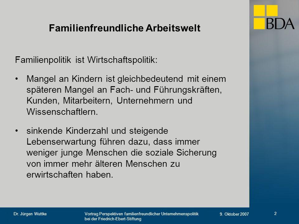 Vortrag Perspektiven familienfreundlicher Unternehmenspolitik bei der Friedrich-Ebert-Stiftung 9. Oktober 2007 Dr. Jürgen Wuttke 2 Familienfreundliche