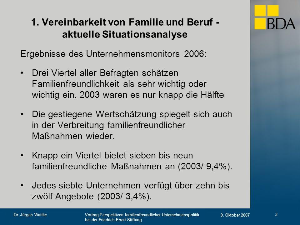 Vortrag Perspektiven familienfreundlicher Unternehmenspolitik bei der Friedrich-Ebert-Stiftung 9. Oktober 2007 Dr. Jürgen Wuttke 3 1. Vereinbarkeit vo