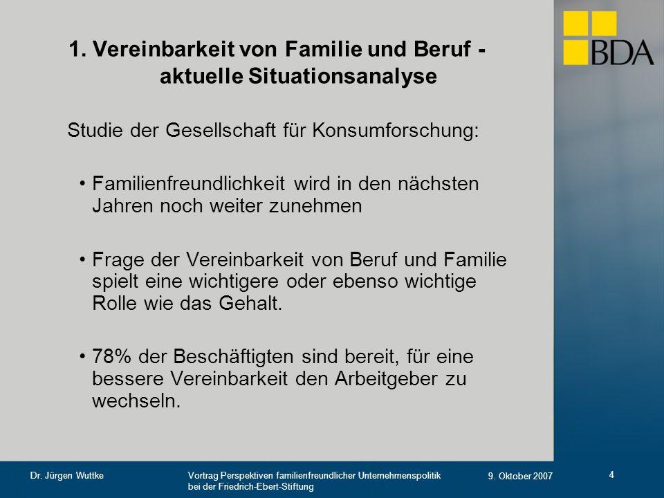 Vortrag Perspektiven familienfreundlicher Unternehmenspolitik bei der Friedrich-Ebert-Stiftung 9. Oktober 2007 Dr. Jürgen Wuttke 4 1. Vereinbarkeit vo